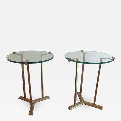 Pair of brass and glass side tables Czech Republic circa 1970