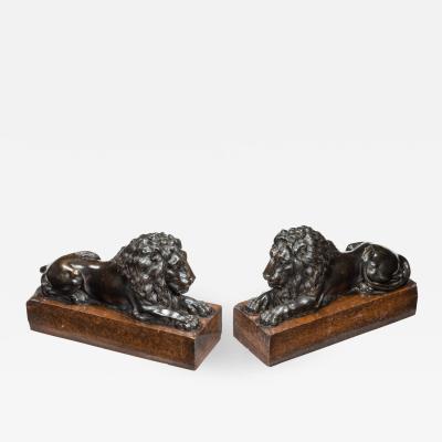 Pair of bronze lions after Boizot for chenets in the Salon de la Paix 1786
