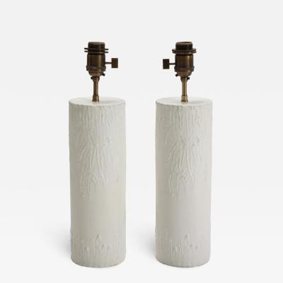 Pair of brutalist Bougies plaster lamps by Facto Atelier Paris France 2020