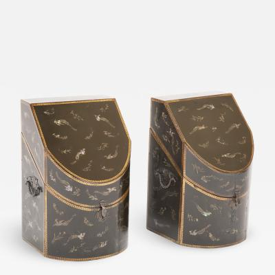 Pair of c 1800 Japanese Nagasaki export lacquer knife boxes