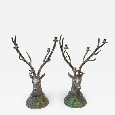 Pair of candlesticks in silvered bronze French Work circa 1950