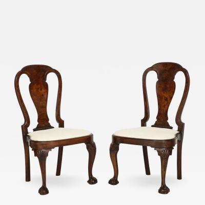 Pair of carved walnut side chairs with exceptional color
