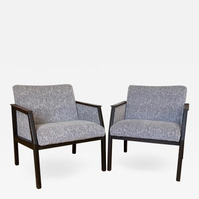 Pair of chairs Designer MCM Pair of rosewood and upholstered arm chairs