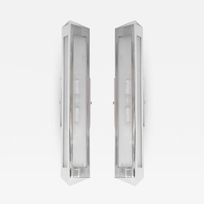 Pair of chrome prism sconces