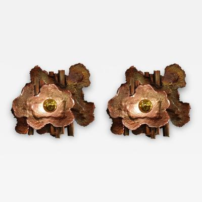 Pair of copper Mid Century Modern Brutalist sconces Italy 1970s