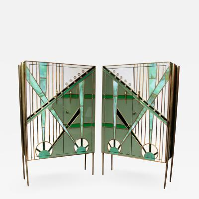 Pair of custom made glass and brass cabinets