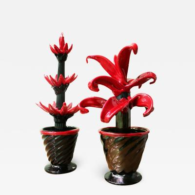 Pair of decorative glass plants