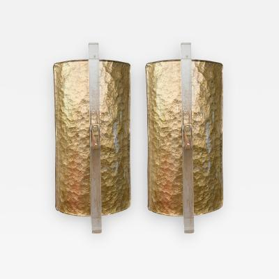 Pair of demilune icy Murano glass sconces