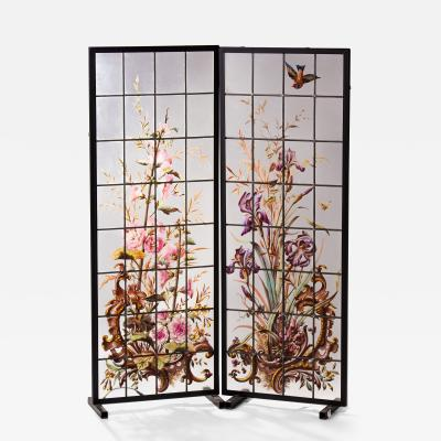 Pair of enameled stained glass panels France circa 1880