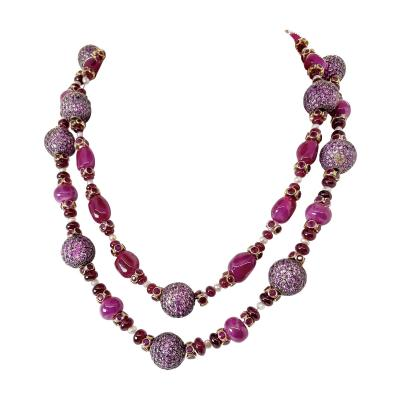 Pair of fantastic Ruby Bead Necklaces