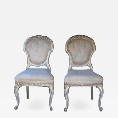 Pair of french antique gold gilded chairs