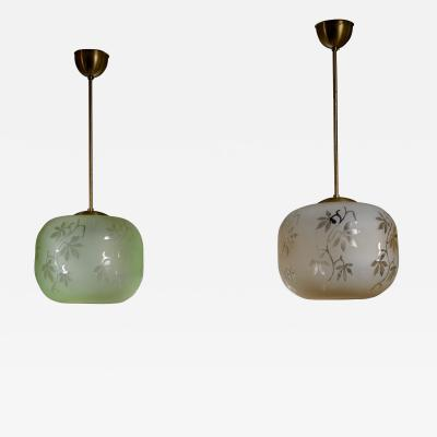Pair of frosted glass pendants with plant motif Sweden