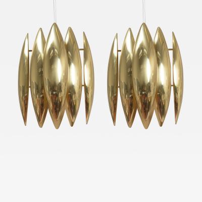 Pair of golden brass pendant lamps circa 1960 Denmark