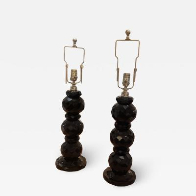 Pair of hand etched black table lamps