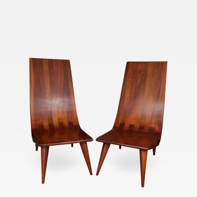Pair of high back African Mahogany slipper chairs