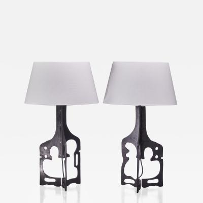 Pair of iron table lamps 1950s