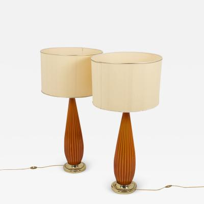 Pair of lamps in ribbed glass and gilt brass 1950s