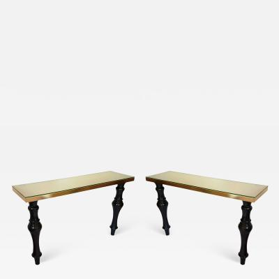 Pair of large Mid Century Modern Italian black marble brass console tables