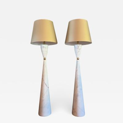 Pair of large marble brass Mid Century Modern floor lamps Italy 1980s