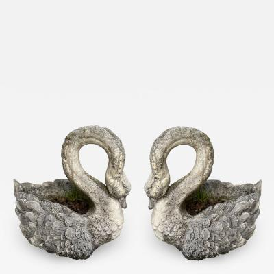 Pair of large planters Swan in cement