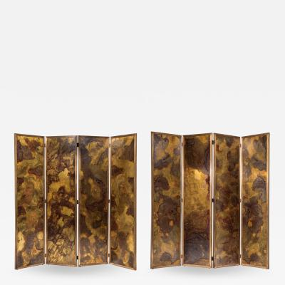 Pair of large screens with four leaves in brass oxidized brass and mirror