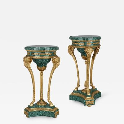 Pair of malachite and gilt bronze stands in the Neoclassical style