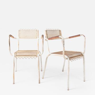 Pair of mid century 1950s Mategot style metal armchairs