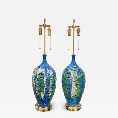Pair of mottled openwork ceramic table lamps