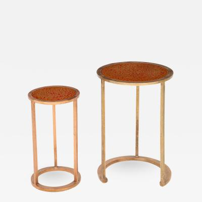 Pair of nesting tables with lacquered wood top