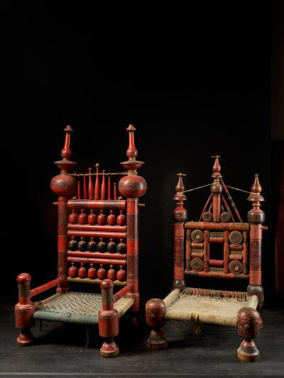 Pair of old Punjabi hand crafted wooden tribal Wedding Chairs