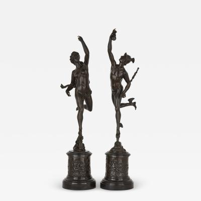 Pair of patinated bronze sculptures after Giambologna