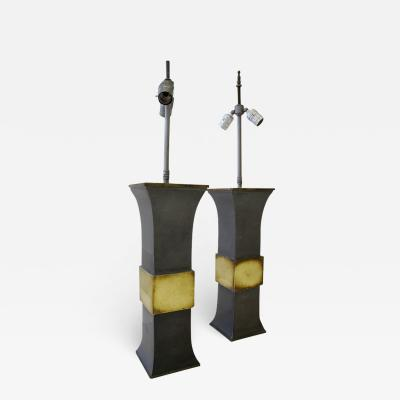 Pair of pewter and brass Asian modern lamps