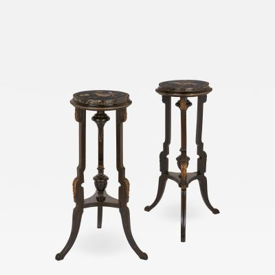 Pair of pietra dura topped circular occasional tables