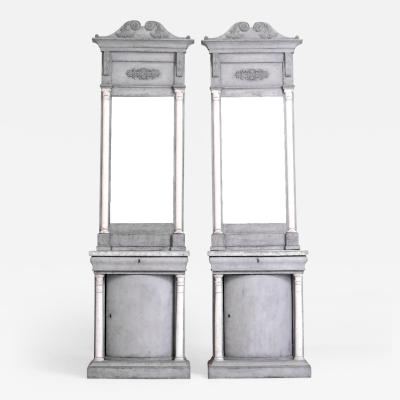 Pair of rare Danish console tables with mirrors circa 1820