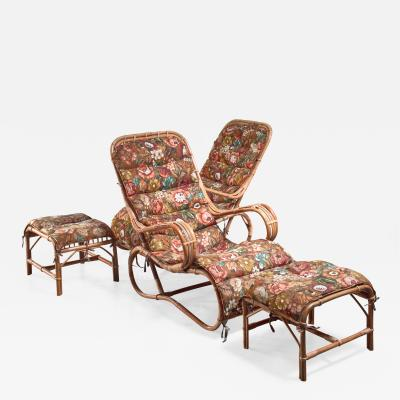 Pair of rattan lounge chairs with ottomans