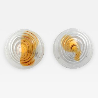 Pair of sculptural Murano clear and amber glass sconces circa 1970s