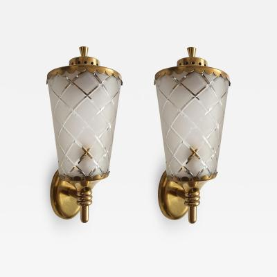 Pair of small Mid Century beveled glass brass sconces lanterns Italy 1960s