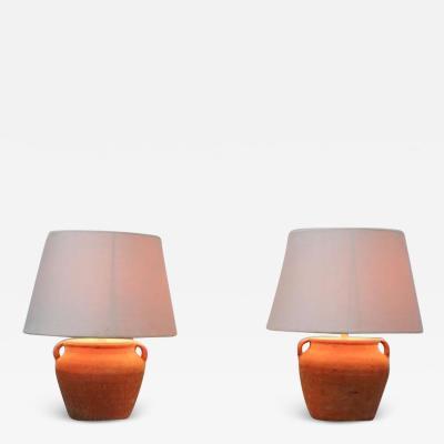 Pair of small terra cotta lamp