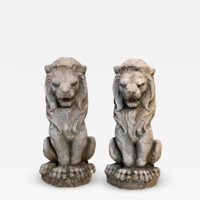 Pair of stone lion garden ornaments