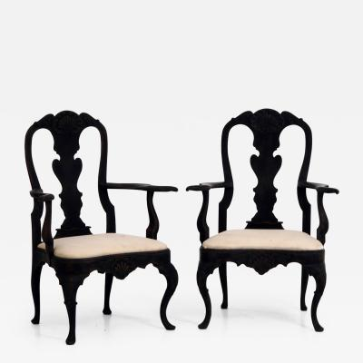 Pair of swedish Rococo style armchairs late 19th Century