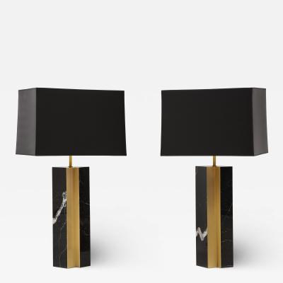 Pair of table lamp with bronze accents Black and white dalamata quartzite