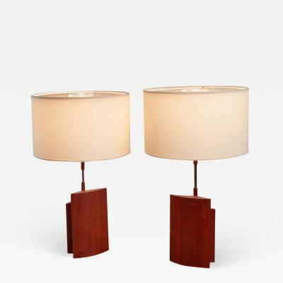 Pair of table lamps with two ellipsoid wood parts and brass stem Denmark 1960s