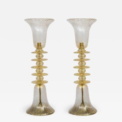 Pair of tall murano lamps