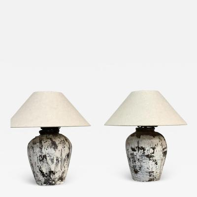 Pair of vintage pots made into lamps