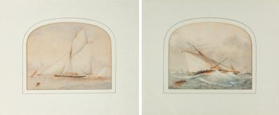 Pair of watercolours of Royal Yacht Squadron gaff rigged cutter
