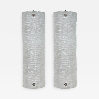 Pair of wavy textured glass sconces