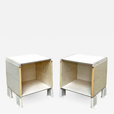 Pair of white plastic nightstand 1970s
