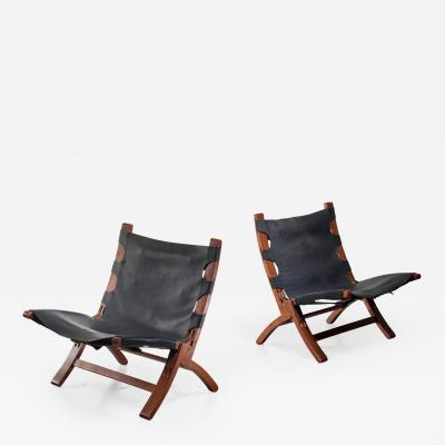 Pair of wood and leather sling chairs 1950s
