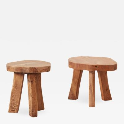 Pair primitivist wooden stools Wanderwood France early C20th