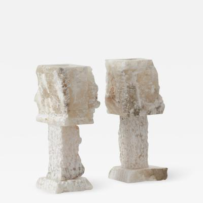 Pair rough hewn alabaster lamps Catalonia Late 20th century